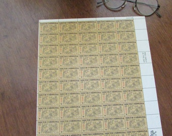 South Carolina Tercentennial Postage Stamps - 6 Cent - 1970 - Sheet of 50 Unused Vintage US Postage Stamps