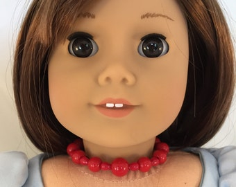 American Girl Sized Choker with Red Beads