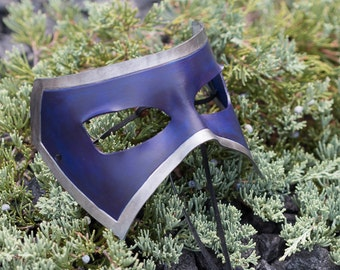 Masquerade Leather Mask Blue and Silver