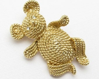 Vintage Napier Bear Brooch Animal Jewelry