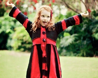 "CUSTOM ORDER DEPOSiT ""Roses Are Red"" Girls Pixie Coat sizes 3, 4, 5 6, 7, 8, 9, 10, 12 ,14"