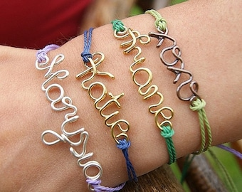 BIG SALE30% Wire name personalized friendship bracelet, clover, infinity, heart