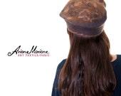 Nuno felt women hat, felted winter bonnet,  Artiste hat, bark shaded feminine cap, Cozy warm autumn, winter hat, handmade France, one of
