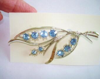 Blue Rhinestone Silver Tone Brooch
