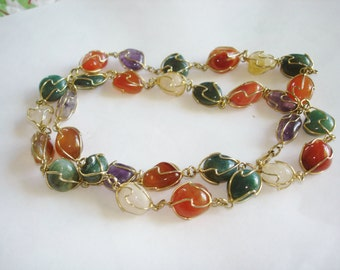 Gemstone Gold Tone Necklace
