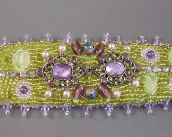 Roof Top Garden Bead Embroidered Cuff