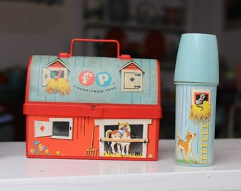 Fisher Price Barn Lunchbox Toy Silo Thermos 60s VINTAGE by Plantdreaming