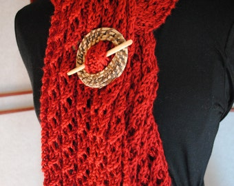 Autumn Red Wine Merlot Fashion Lace Scarf