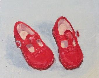 First Red Shoes, 8 x 8 inch oil on linen canvas board. Yvonne Wagner. Red Shoes. Nursery Decor. Nursery Art. Free Shipping  to USA.