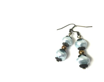 Earrings - Dangle - Baby Blue Pearls - Antique Bronze