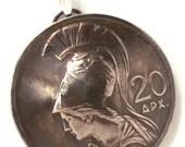 Goddess Athena Greek Jewelry,Greece Coin Pendant,1973 Coin Necklace,Goddess Jewelry Made in Greece Christmas Gift Pendant or Keychain