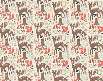 1 yard - Woodland Main in Cream, Woodland spring collection by Dani Mogstad, Riley Blake fabrics