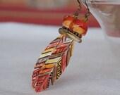 Long Feather Earrings, Orange Earthy Earrings, Ceramic Earrings, Lampwork Glass Bead Earrings, Boho Chic Earrings, Southwestern Earrings
