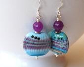 Tye Dye Earrings, Striped Earrings, Lampwork Glass Earrings, Purple Blue Earrings, Boho Chic Earrings, Colorful Square Earrings