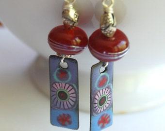 Red Flower Earrings, Purple and Blue Enamel Earrings, Lampwork Glass Earrings, Boho Chic Earrings, Long Earrings, Unique Elegant Earrings