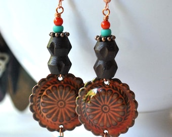 Southwestern Earrings, Artisan Enamel Earrings, Earthy Brown Earrings, Wood Earrings, Unique Tex-Mex Earrings