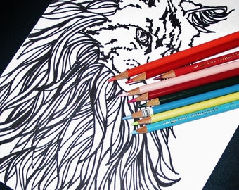 2 pages Royal Longhaired Cat Kitty Coloring Page set of Two 1 Positive Inspiring quote