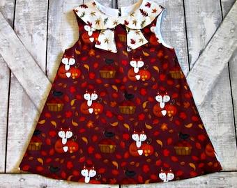 Girls Fall Foxes Dress- Thanksgiving Dress- Fall Autumn Dress- Baby Girl Dress- Toddler Dress- 12 18 Months 2 3 4 5 6 7 8 10 12 Years
