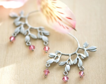 Leaf earrings, Unique earrings, Silver and pink earrings, Half hoop earrings, pink earrings, wedding jewelry