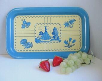 Vintage shabby style metal tray Blue and cream tin tray
