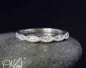 VALENTINES DAY SALE Vintage Inspired Miligrain Leaf Tiara Half Eternity Dimaond Band - 14kt White Gold