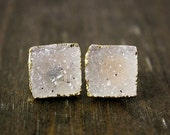 40 OFF SALE Gold Vanilla Druzy Square Studs - Mix Colours - Choose Your Druzy