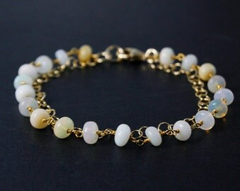 White Opal Bracelet – Opal Beads – 14K Gold Filled Chain