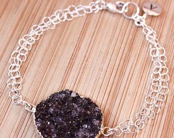 ON SALE Silver Black Druzy Bracelet - Initial Bracelet - Choose Your Stone