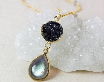 25% OFF Blue Labradorite Necklace – Black Druzy – Blue Labradorite Chain