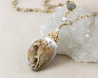 40 OFF SALE Brown Fossilized Druzy Sea Shell Necklace - Blue Labradorite Chain - Gold