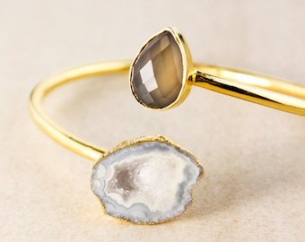 Grey Chalcedony and Agate Geode Bangle – Gold Plated