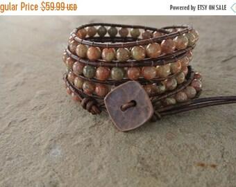 30% OFF SALE Copper Jasper Beaded Leather Wrap Bracelet
