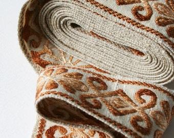 Wide Vintage Upholstery Trim Floral Geometric Brown Bronze Cream