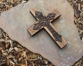 RESERVED for Kim // Rustic Wood Cross.  Wood Cross.  Cast Iron Cross.  Unfinished Wooden Cross.  9 x 12 Cross.  - Handmade