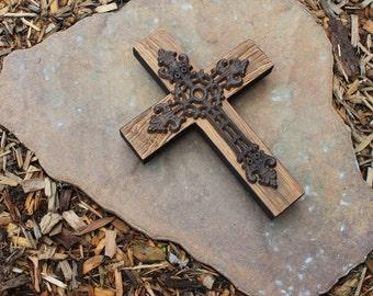 Cast Iron & Wood Cross.  Wood Cross.  Cast Iron Cross.  Reclaimed Wood Cross.  9 w x 12 l Cross. Unfinished Face + Black Trim Finish.