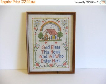 SUMMER Sales Event Vintage Embroidered Wall Hanging God Bless this Home