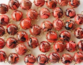 Vintage Glitter Glass 2 High Dome Opaque Swirl Round Pendant Beads Brass Setting • 11mm • Orange, Yellow