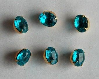 Vintage Glass Buttons 6 Aqua Blue Glass Oval Buttons Brass Settings 10x8mm