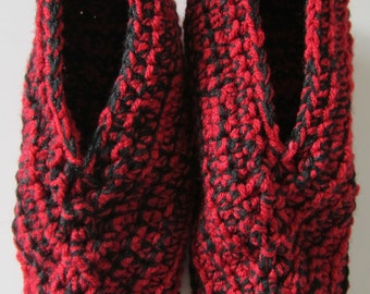 Size 6-7 Women's Crocheted Slippers, Red and Black