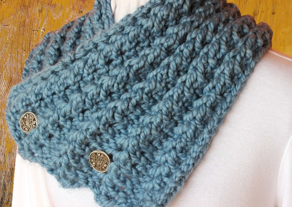 Snowman Knitting Patterns : Chunky Knit Scarf Pattern Button Up Knit Cowl by KimberleesKorner