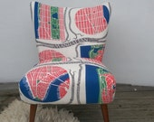Vintage cocktail chair reupholstered in 'Manhattan' fabric designed by Josef Frank in the 1940's