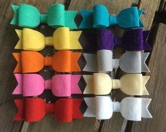 Wool felt bow Ribbon Lined Aligator Clip Non-Slip