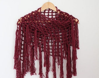 ON SALE Triangle Fringe Scarf- Burgundy- Fishnet Shawl- Wool/Linen- Gift for Her- Christmas Gift- Infinity Scarf- Bohemian Fringe Scarf- Boh