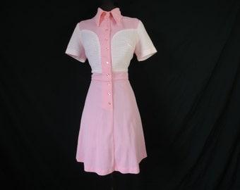 mod pink uniform dress 60s atomic bubble gum a-line dress large
