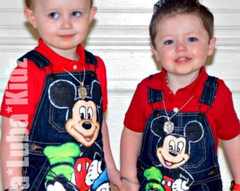 mickey mouse clubhouse Boys shortall set Boutique custom painted 12 18 24 2 3 4