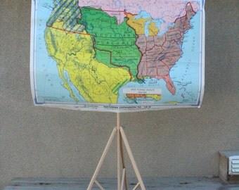 Vintage Map Set School United States History Rand McNally Exploration Colonization Latin America Civil War Tripod Set Eight