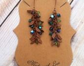 Dainty Copper Leaf Crystal Earrings- Vintage Antiqued- Copper- Peacock Blue Purple Green- Boho Bohemian Gypsy- Hippie