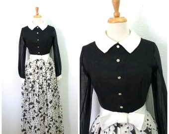 1950s Dress Black and White Floral Print Vintage 50s Bow Button front Maxi dress S