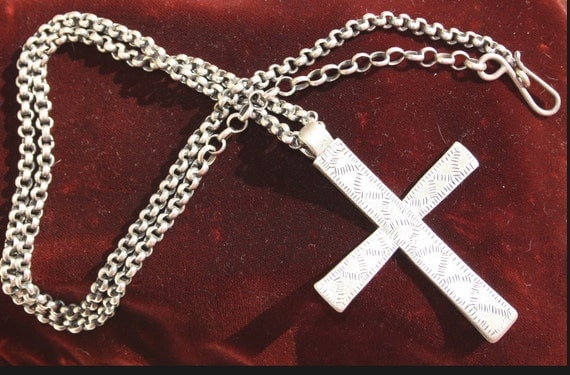 Antique Heavy Solid Silver Large Coptic Christian Cross on Chain
