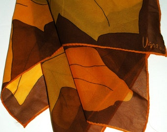 Fall Leaves  a Vintage 1960's  Vera Neumann Square Scarf
